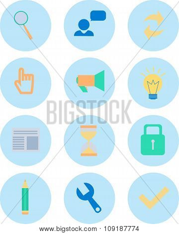 Modern Flat Icons Vector Collection In Stylish Colors Of Web Design Objects, Business, Finances, Off