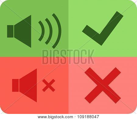 Vector Icons Sound Volume Loud Quiet, Tick, Cross, Mark