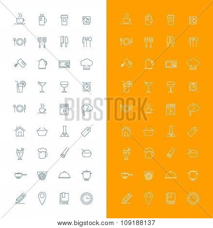 Food And Restaurant Line Art Design Vector Icon Set. Food, Beverages, Cooking, Kitchenware, Cutlery