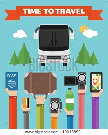 Modern design time to travel flat background with hand .