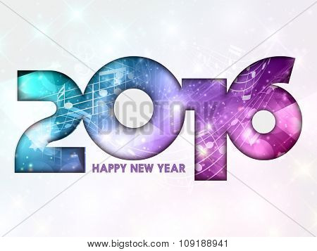 Abstract New Year background with music notes design