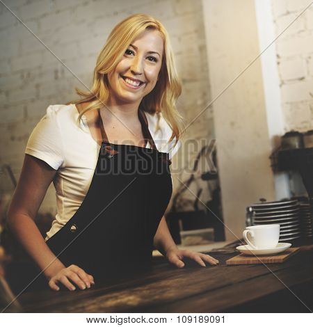 Coffee Shop Woman Waitress Serve Concept