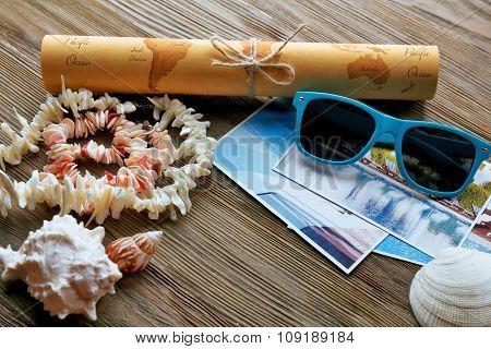 Beautiful composition with sea accessories on table close up