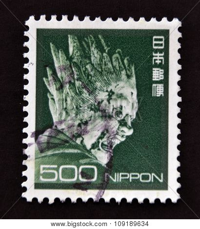 JAPAN - CIRCA 1980: stamp printed in Japan shows Sculpture of Bazara (Meikira) circa 1980