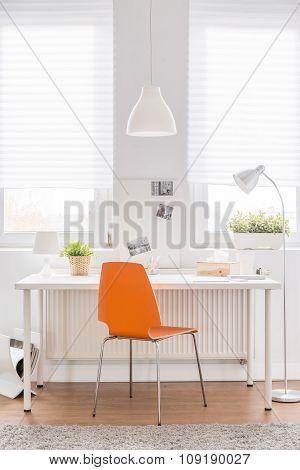 Desk With Orange Chair