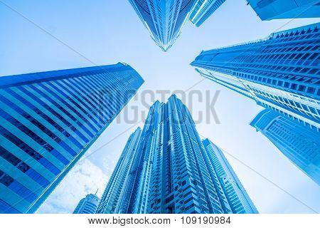 Tall Dubai Marina skyscrapers in UAE