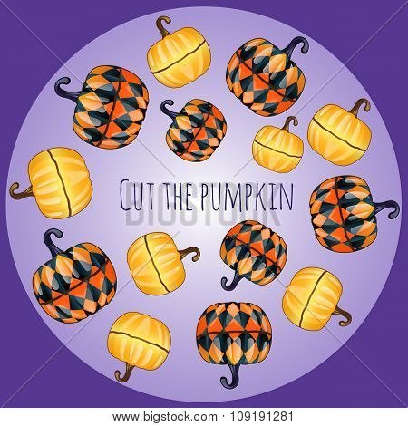 Set of unusual pumpkins, decor on purple background
