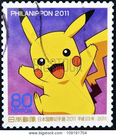 JAPAN - CIRCA 2011: A stamp printed in Japan shows Pikachu a Pokemon circa 2011