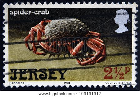 JERSEY - CIRCA 1973: A stamp printed in Jersey shows a spider-crab circa 1973