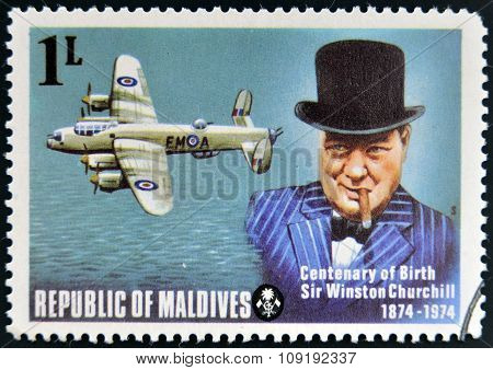 A stamp printed in Maldives dedicated to centenary of birth Sir Winston Churchill