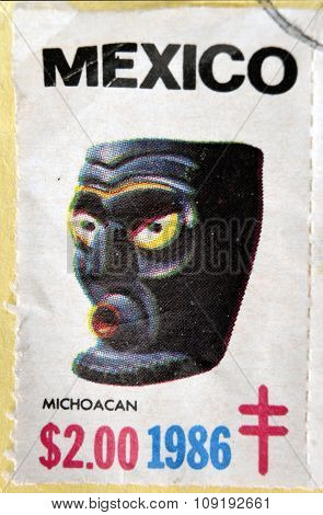MEXICO - CIRCA 1986: A stamp printed in Mexico shows Mexican mask Michoacan circa 1986