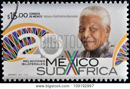 MEXICO - CIRCA 2013: A stamp printed in Mexico shows Nelson Mandela circa 2013