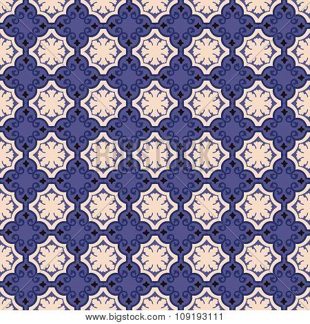 Seamless background image of vintage blue spiral shape pattern.
