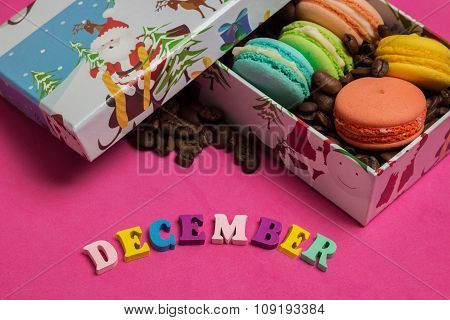 Tag December, Colorful Macaroons In The Gift Box