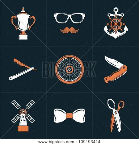 Set Of Vector Design Elements For Logotypes. Vintage Styled Design Hipster Icons. Vector Illustratio