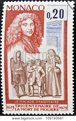 MONACO - CIRCA 1973: A stamp printed in Monaco shows The Imaginary Invalid by Moliere circa 1973