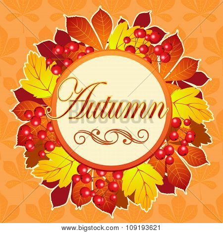 Bright autumn greeting card with wreath close up and space for your text
