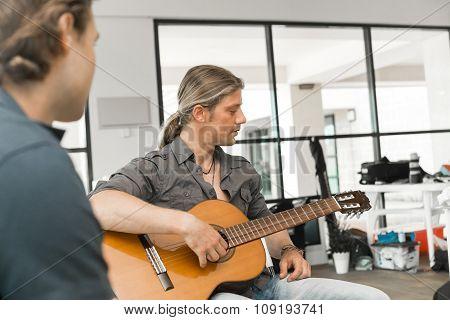 Musician play guitar