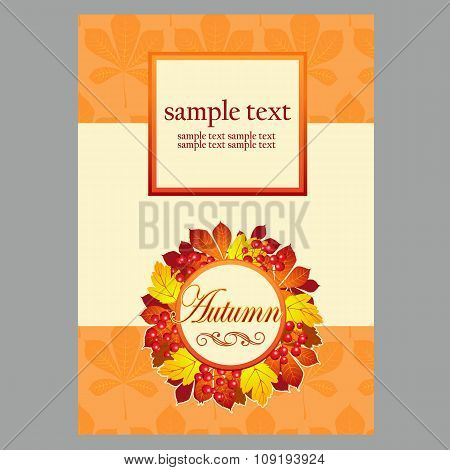 Card with autumn leaves and space for text for your design needs