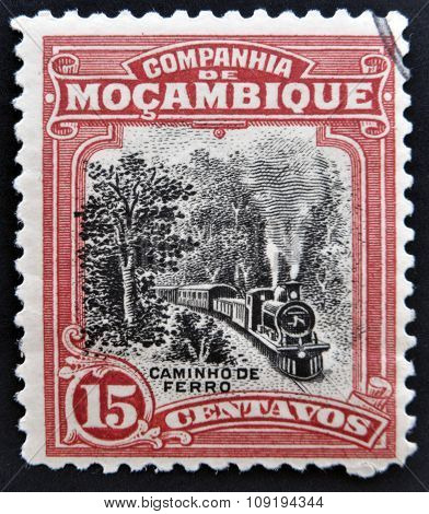 MOZAMBIQUE - CIRCA 1918: A stamp printed in Mozambique shows a Steam Train circa 1918