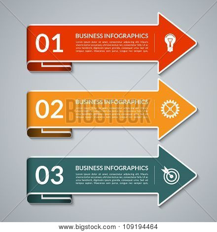 Vector infographic arrows with white border