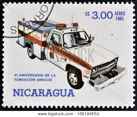 NICARAGUA - CIRCA 1985: Stamp printed in Nicaragua dedicated to anniversary of the founding sinacoi