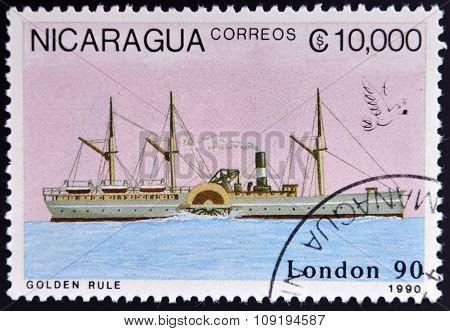 NICARAGUA - CIRCA 1990: A stamp printed in Nicaragua shows Ship circa 1990