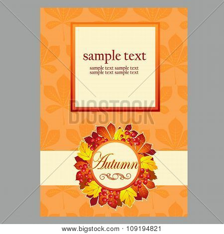 Card in yellow colors with autumn leaves and space for text for your design needs