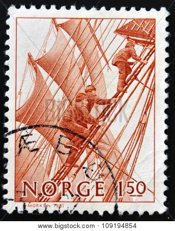 NORWAY - CIRCA 1981: a stamp printed in Norway shows Climbing rigging on sailboat circa 1981