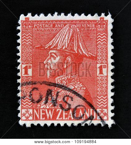 NEW ZEALAND - CIRCA 1953: A stamp printed in New Zealand shows George V in Field Marshals Uniform