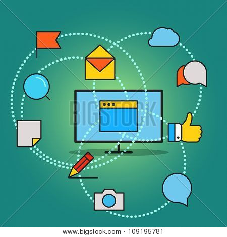 Modern communication scheme. Flat design concept