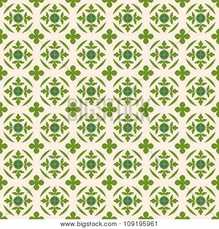Seamless background image of vintage nature green leaf shape pattern.