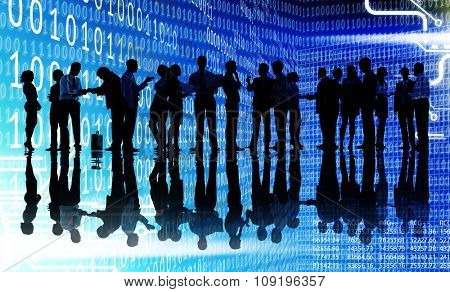 Silhouettes of Business People Working Binary Cloud Concept
