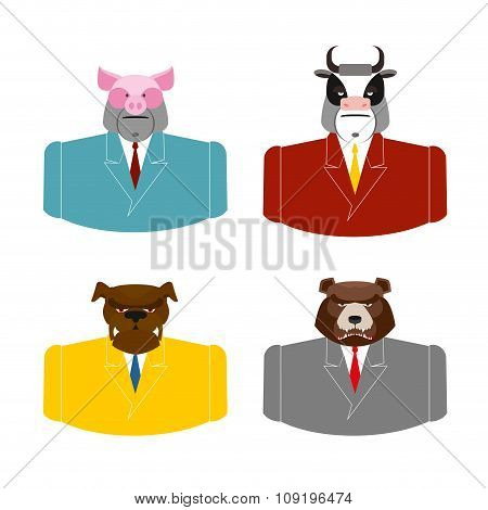 Set Animals Businessmen. Farm Animals In Costume. Pig In Business Suit. Bull Businessman. Bear In Of