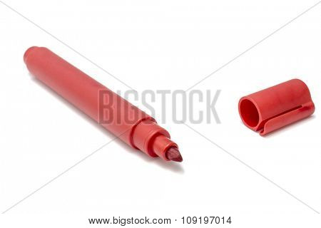 Red marker pen on white background