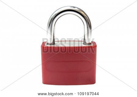 Red padlock closeup on white background