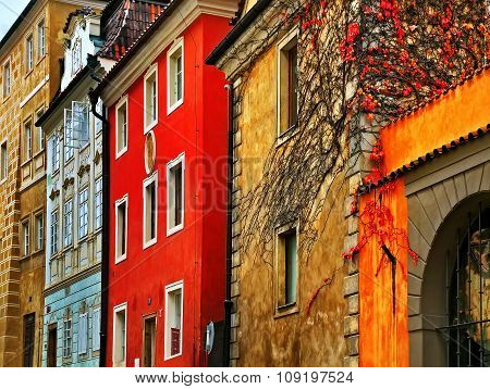 Old Streets In The City Of Prague. Beautiful Colored Facades