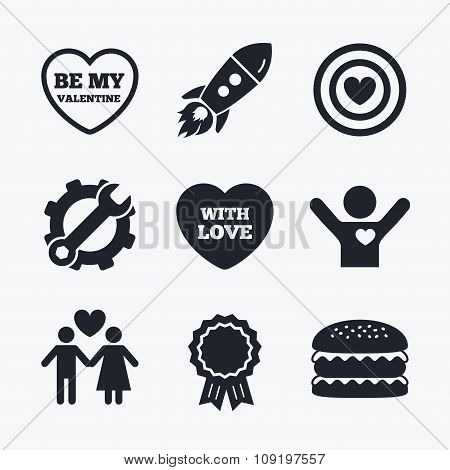 Valentine day love icons. Target aim with heart.