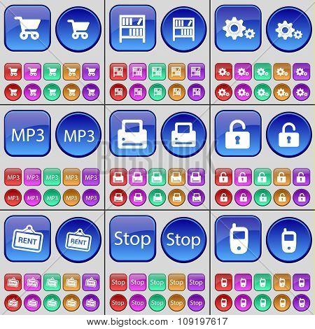 Shopping Cart, Bookshelf, Gear, Mp3, Printer, Lock, Rent, Stop, Mobile Phone. A Large Set Of Multi-