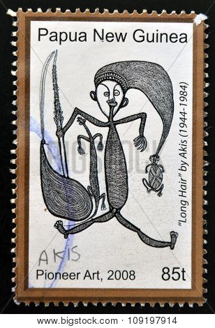 PAPUA NEW GUINEA - CIRCA 2008: A stamp printed in Papua dedicated to pioneer art shows long hair