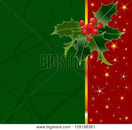 Christmas background with holly berry