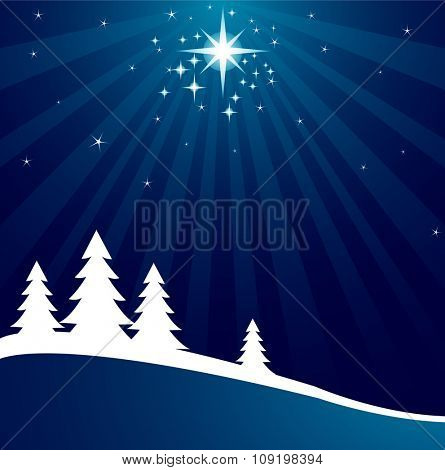 Illustration of an abstract Christmas background with shutting star