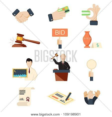 Auction vector icons set with hammer hands and money isolated