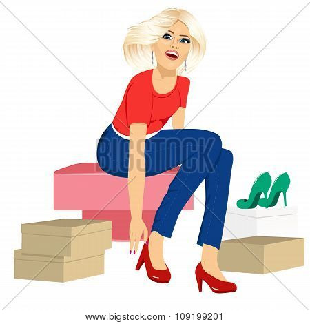 woman trying many fashionable shoes