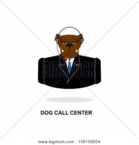Doggy Call Center. Dog With Headset. Pet In Costume Responds To Phone Calls. Customer Feedback For D