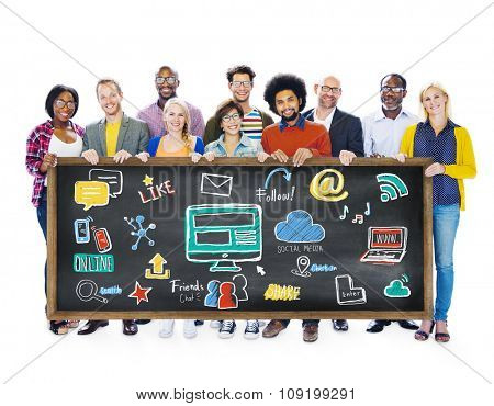 Multiethnic People Global Communications Social Media Banner Concept