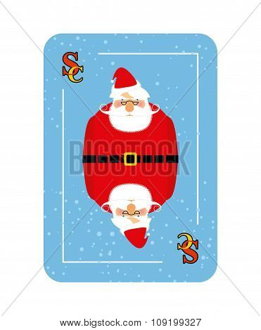 Santa Claus playing card. New concept of playing card. Wishes Merry Christmas to player.