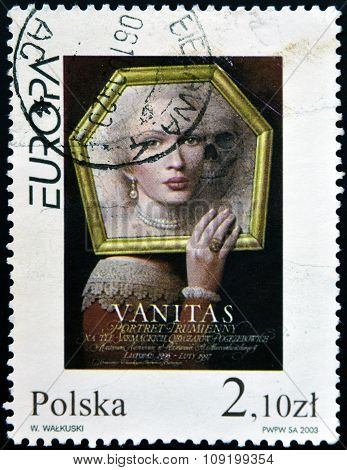 POLAND - CIRCA 2003: A stamp printed in Poland shows Vanitas poster by Wieslaw Walkuski circa 2003