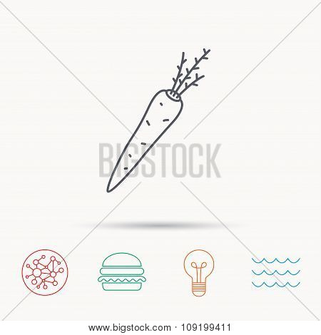 Carrot icon. Vegetarian food sign.