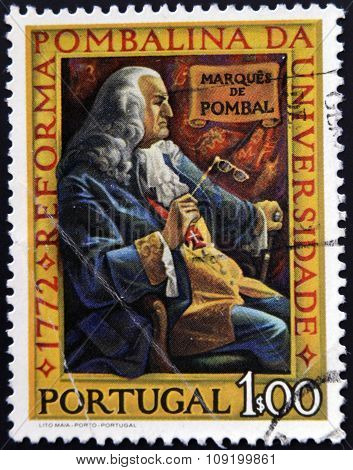 stamp printed in Portugal shows Marquis of Pombal Bicentenary of the Pombaline Reforms of University